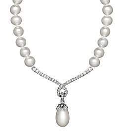 Freshwater Pearl and White Topaz Necklace in Sterling Silver