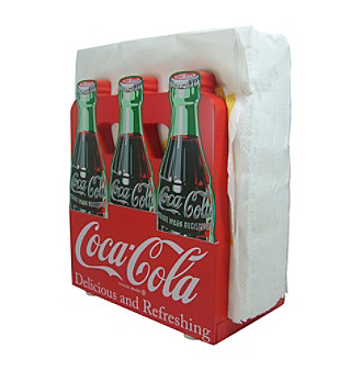 coca cola wood napkin holder