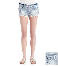 Hippie Laundry Lace Trim Destructed Jean Short