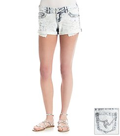 Hippie Laundry Acid Wash Crochet Cuff Jean Shorts