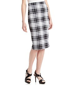 Sequin Hearts® Plaid Scuba Midi Skirt
