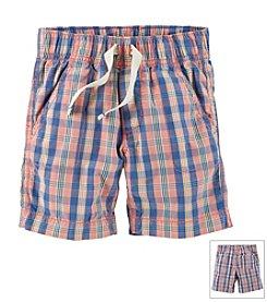 Carter's® Boys' 2T-7 Pull-On Plaid Poplin Shorts