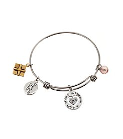 Gratitude and Grace Stainless Steel Bangle Bracelet with Daughter Inspirational Messaging