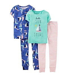 Carter's® Baby Girls' 4-Piece Sailboats Pajama Set