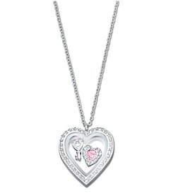 Swarovski® Silvertone Treasure Heart Locket Pendant Necklace