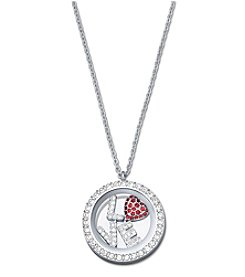 Swarovski® Silvertone Treasure Round Locket Pendant Necklace