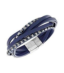 Swarovski® Silvertone Celeb Leather Bracelet