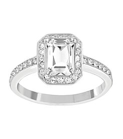 Swarovski® Silvertone Attract Light Rectangular Ring