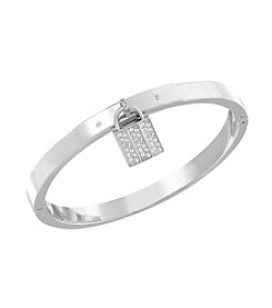 Swarovski® Silvertone Case Bangle Bracelet