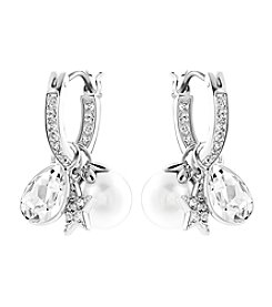 Swarovski® Silvertone Canvas Pierced Earrings