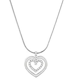 Swarovski® Silvertone Circle Heart Pendant Necklace