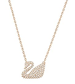 Swarovski® Rose Goldtone Swan Pendant Necklace
