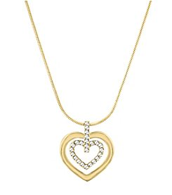 Swarovski® Goldtone Circle Heart Pendant Necklace
