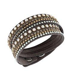 Swarovski® Goldtone Slake Taupe Rock Bracelet