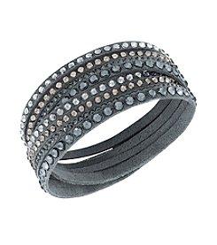 Swarovski® Silvertone Slake Dark Grey Deluxe Bracelet