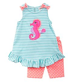 Rare Editions® Girls' 2T-4T Seahorse Outfit Set