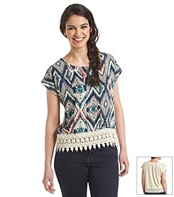 Jolt® Printed Crochet Blouse