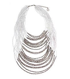 Erica Lyons® Silvertone Multi-Strand Layered Statement Necklace