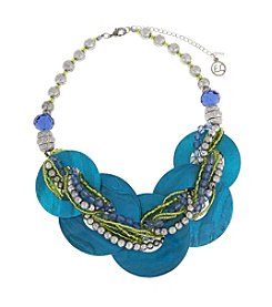 Erica Lyons® Silvertone Devil In A Blue Dress Shell Rings Front Necklace