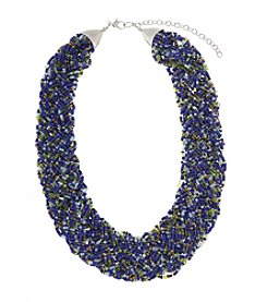 Erica Lyons® Silvertone Devil In A Blue Dress Seed Bead Braided Necklace