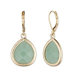 Lonna & Lilly Goldtone and Green Semiprecious Teardrop Earrings