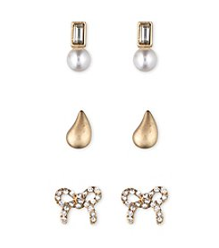 Lonna & Lilly Set of Three Goldtone and Stone Small Stud Earrings