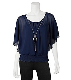 A. Byer Flutter Smoked Top With Necklace