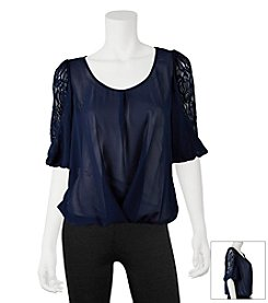 A. Byer Puff Lace Sleeve Top