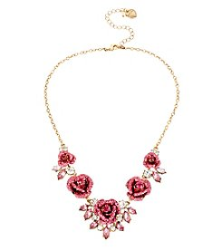 Betsey Johnson® Goldtone Glitter Rose Frontal Necklace