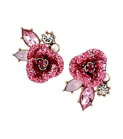 Betsey Johnson® Goldtone Glitter Rose Mismatch Stud Earrings