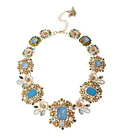 Betsey Johnson® Goldtone Mixed Faceted Bead & Flower Bib Necklace