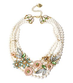 Betsey Johnson® Goldtone Flower Frontal Faux Pearl Necklace