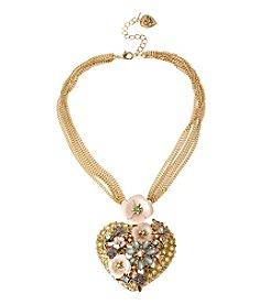 Betsey Johnson® Goldtone Pave Heart Pendant Necklace