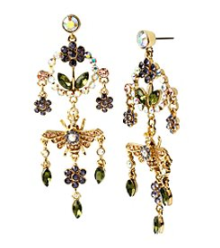 Betsey Johnson® Goldtone Queen Bee Chandelier Earrings