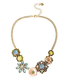 Betsey Johnson® Goldtone Mixed Flower Frontal Necklace