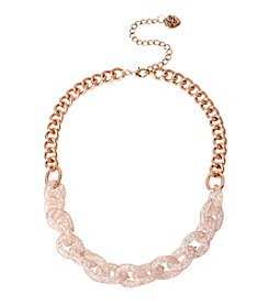 Betsey Johnson® Rose Goldtone Mesh Wrapped Sparkle Link Frontal Necklace