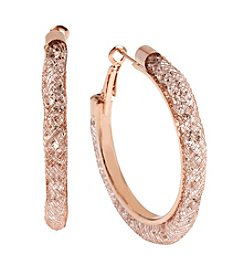 Betsey Johnson® Rose Goldtone Mesh Wrapped Sparkle Hoop Earrings