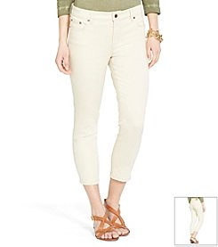Lauren Jeans Co.® Super-Stretch Heritage Straight Cream-Wash Jeans