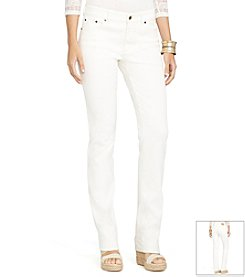 Lauren Jeans Co.® Heritage Straight Tan-Wash Stretch Jeans