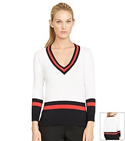 Lauren Active® Striped-Trim Cotton Sweater