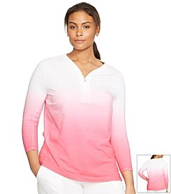 Lauren Active® Plus Size Ombre Half-Zip Shirt