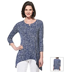 Rafaella® Textured Three-Quarter Sleeve Keyhole Top