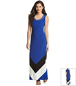 NY Collection Color Block Maxi Dress