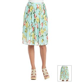 Bobeau Floral Pleated Skirt