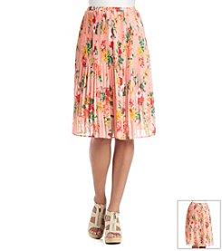 Bobeau Floral Pleated Skirt