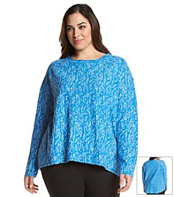 Marc New York Performance Plus Size Marled Long Sleeve Top