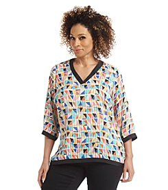 Rafaella® Plus Size Geometric Woven Top