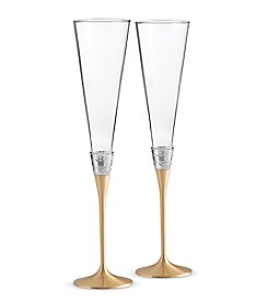 Vera Wang® With Love Gold Set of Two Champagne Toasting Flutes