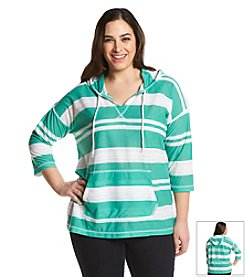 Jones New York Sport® Plus Size Hooded Stripe Pullover