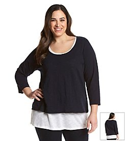 Jones New York Sport® Plus Size Layered Slub Top
